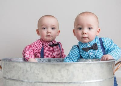 Twin Baby Boys in Gingham and bowties