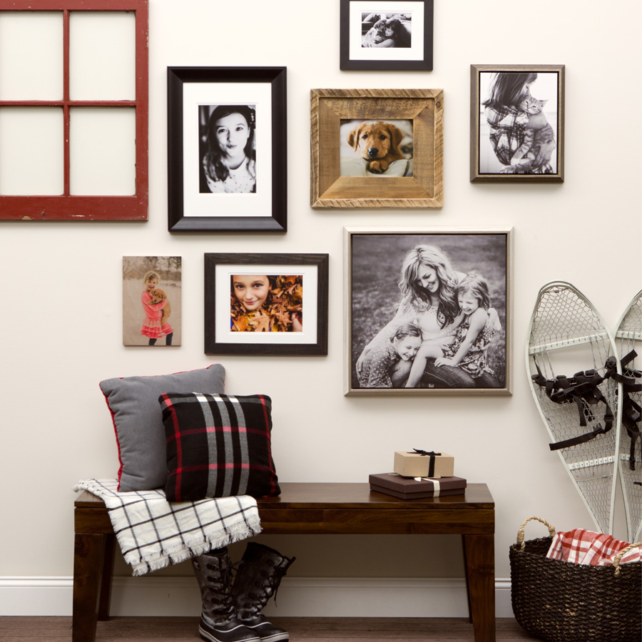 mudroom photography wall display