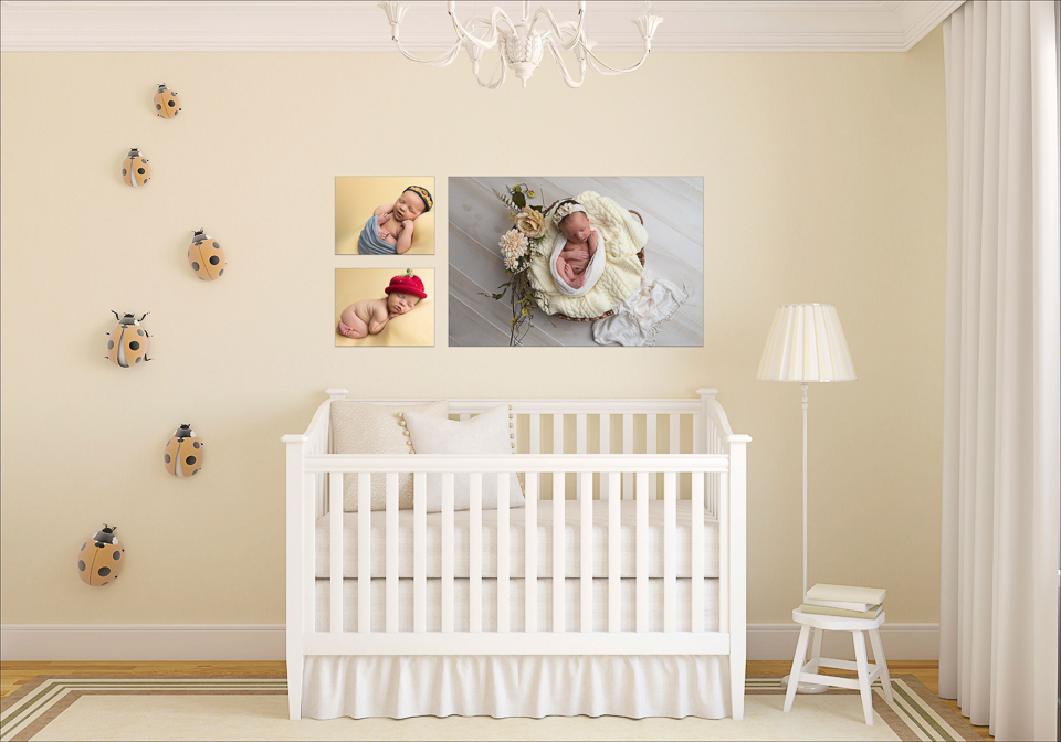 Baby's Nursery with Pictures and ladybugs